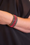 Accessorize In Style Fashion Bracelets Fashion Red Stone Cuff - Bar Stone