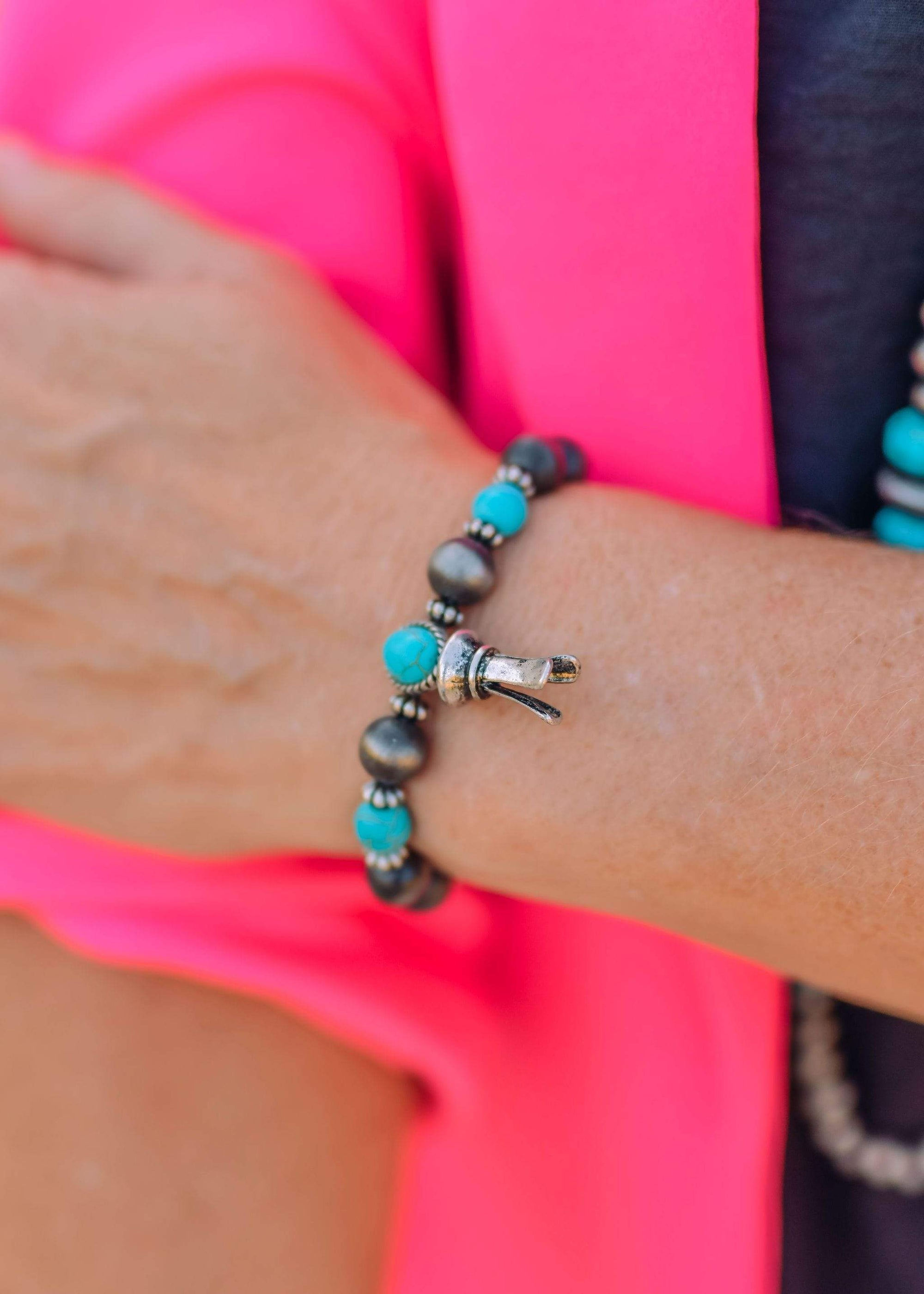 Fashion Stretch Turquoise Silver Blossom Bracelet