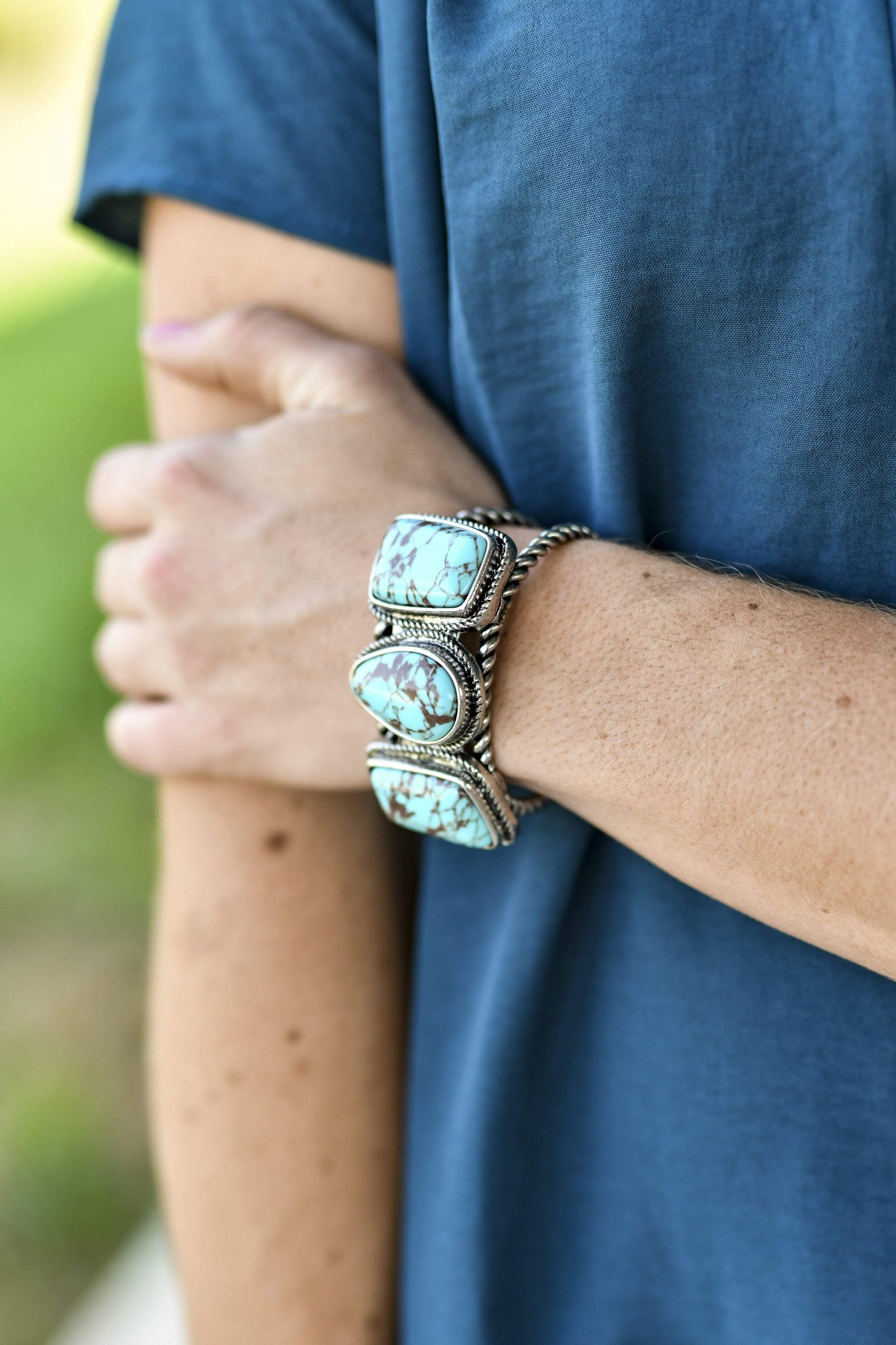 Turquoise & Silver Rope Fashion Cuff Bracelet