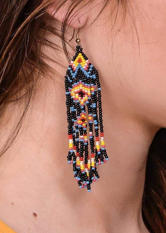 Accessorize In Style Fashion Earrings Beaded Earring - Black Aztec