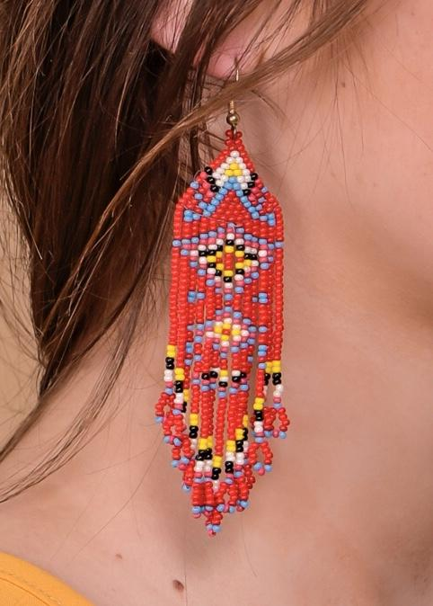 Accessorize In Style Fashion Earrings Beaded Earring - Red / Turquoise Diamond Aztec