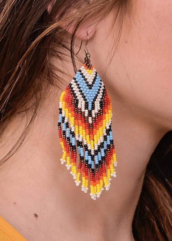 Accessorize In Style Fashion Earrings Beaded Earring - Turquoise / White Chevron