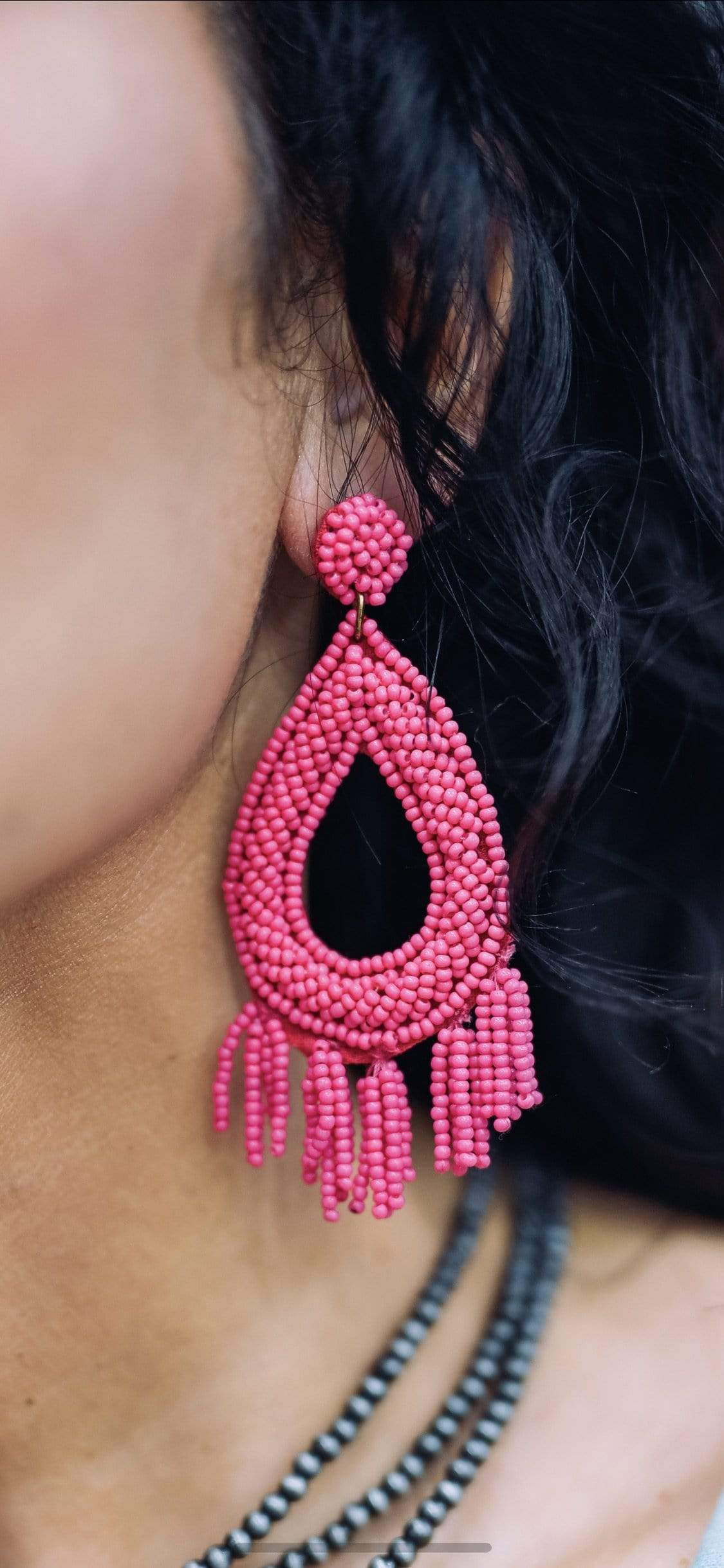 Accessorize In Style Fashion Earrings Beaded Post Earrings with Tassels - Hot Pink