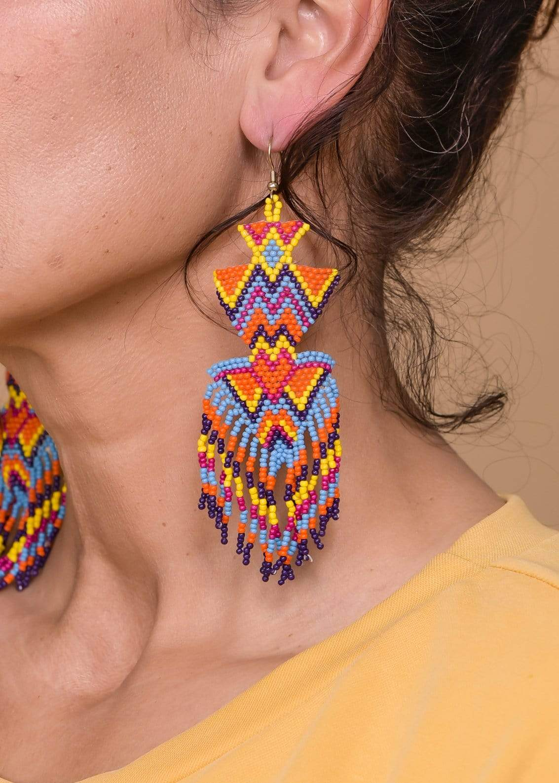 Accessorize In Style Fashion Earrings Beaded Tiered Fringe Earrings