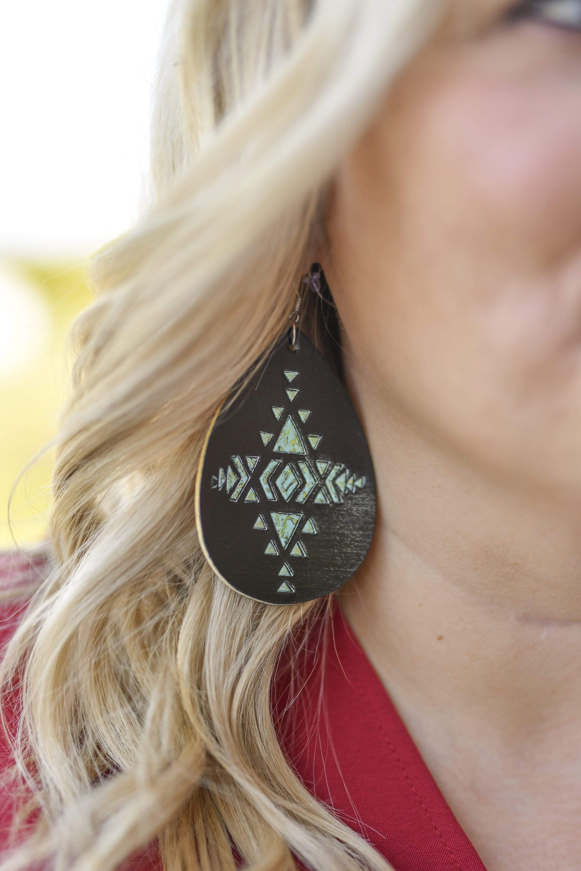 Accessorize In Style Fashion Earrings Black Aztec Painted Earrings