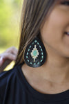 Accessorize In Style Fashion Earrings Black & White Aztec Painted Earrings