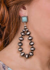 Accessorize In Style Fashion Earrings Fashion Disc Navajo Pearl Earrings with Turquoise Post