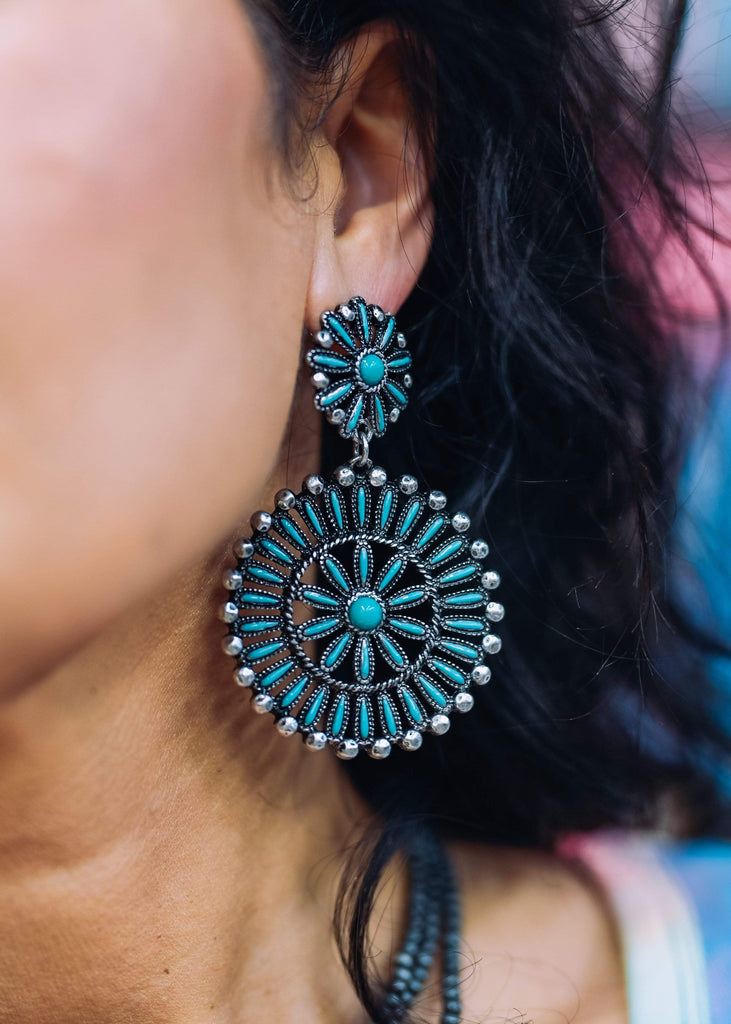 Accessorize In Style Fashion Earrings Fashion Double Sunburst Post Earrings - Turquoise