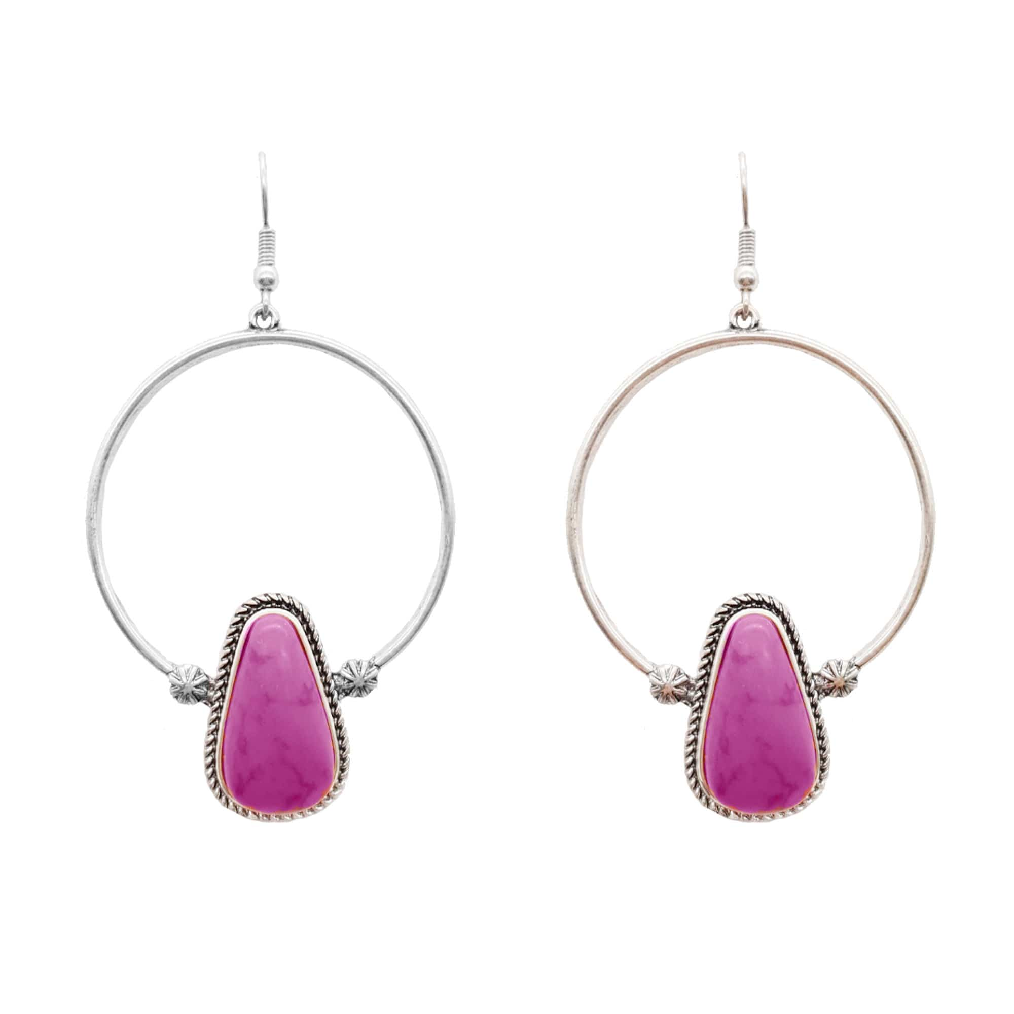 Accessorize In Style Fashion Earrings Fashion Hoop Pink Tear Drop Stone Earrings