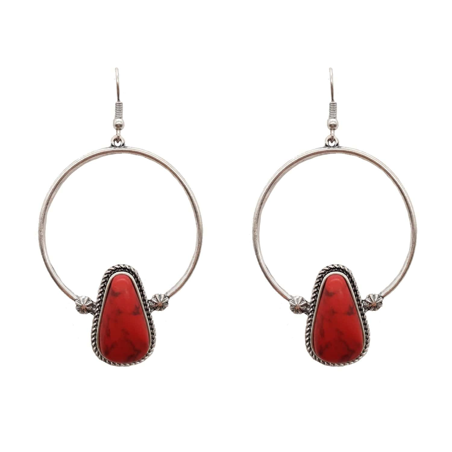 Accessorize In Style Fashion Earrings Fashion Hoop Red Tear Drop Stone Earrings