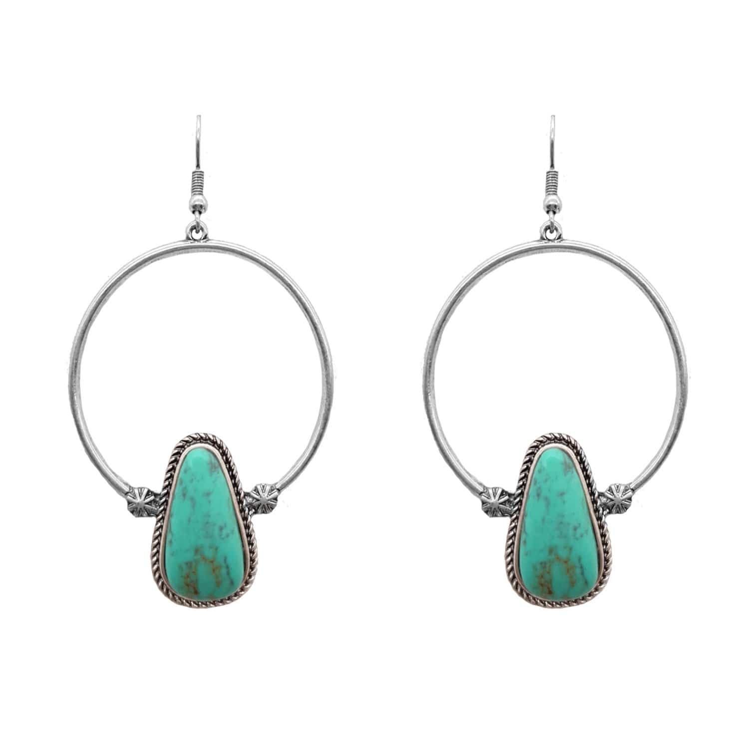 Accessorize In Style Fashion Earrings Fashion Hoop Turquoise Tear Drop Earrings