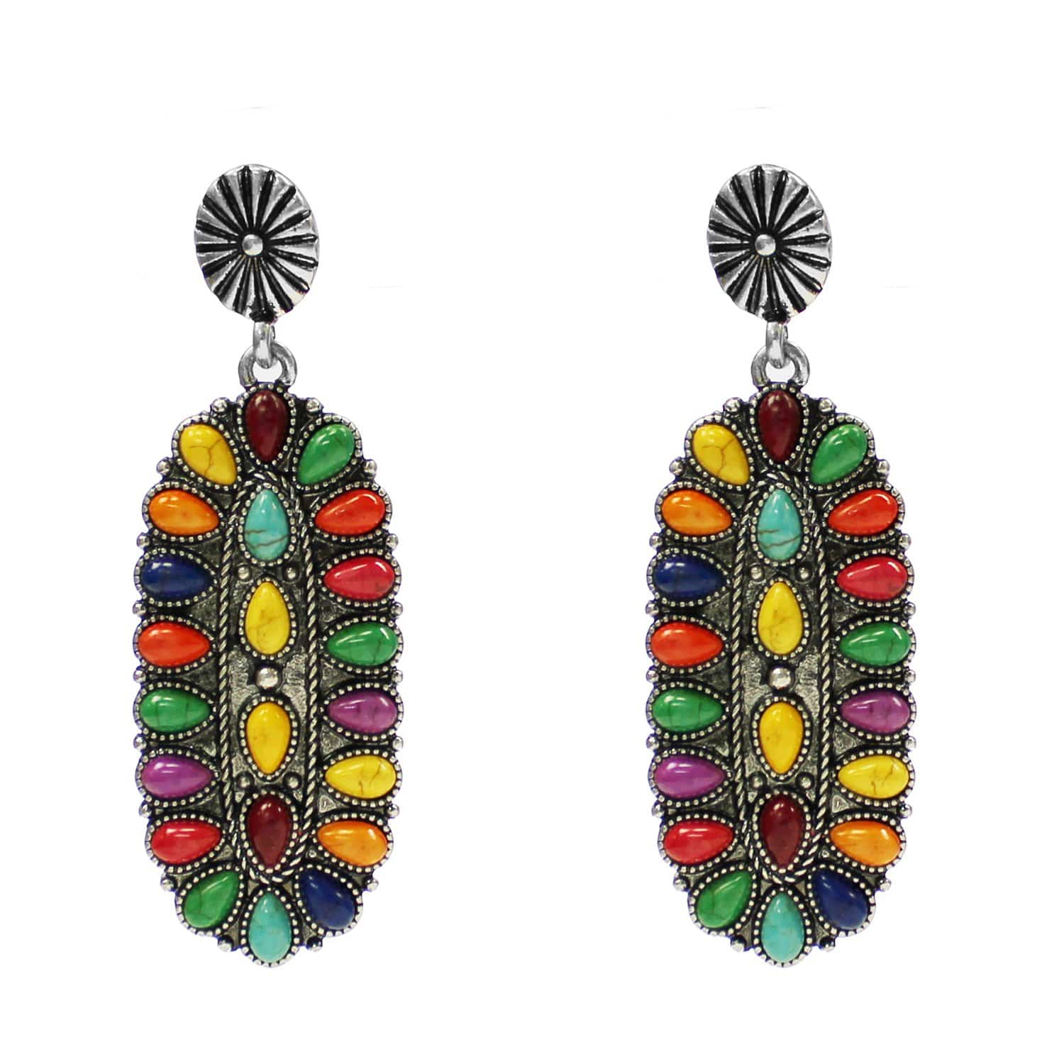 Accessorize In Style Fashion Earrings Fashion Multi Stone Oval Earrings