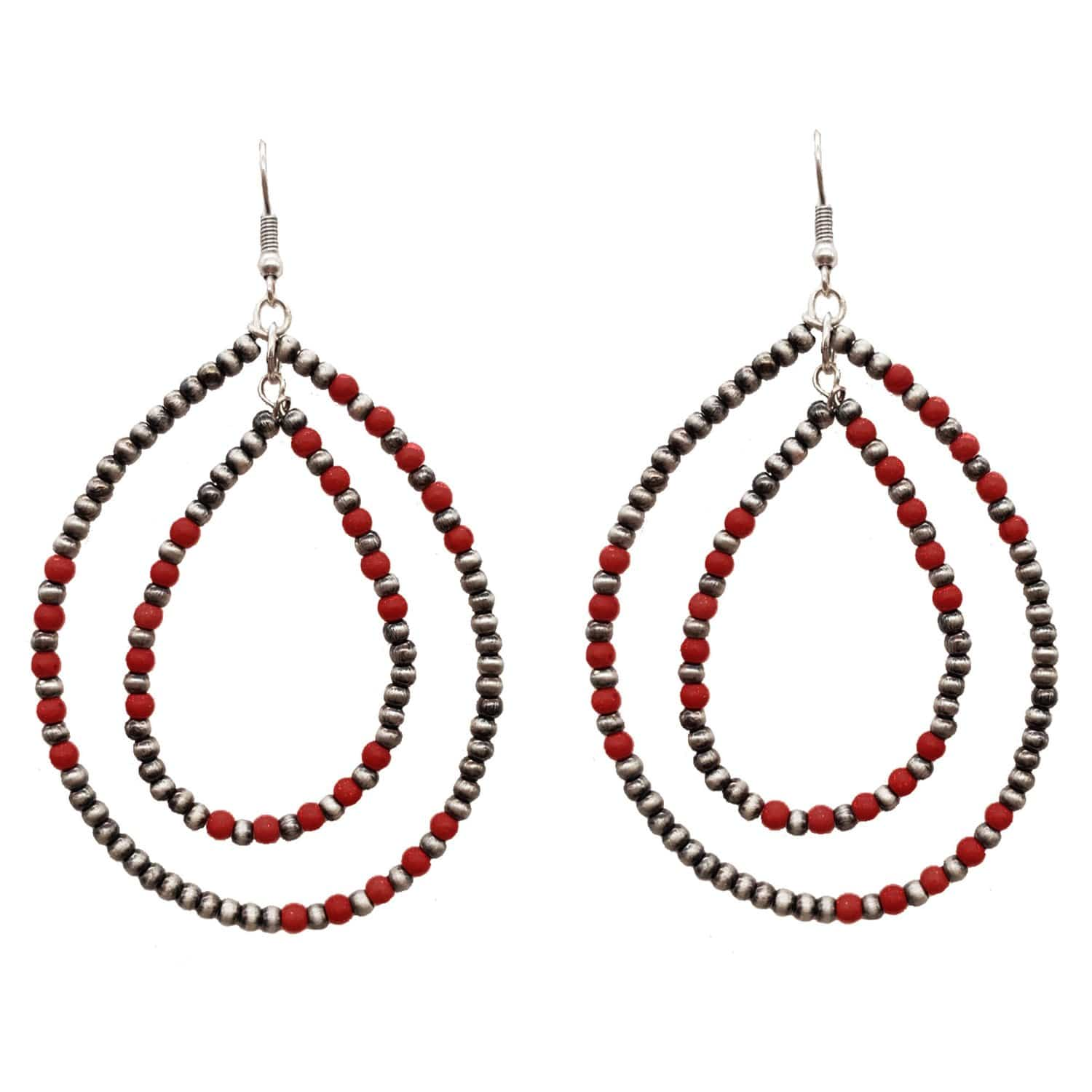 Accessorize In Style Fashion Earrings Fashion Navajo Pearl & Red Bead Earrings