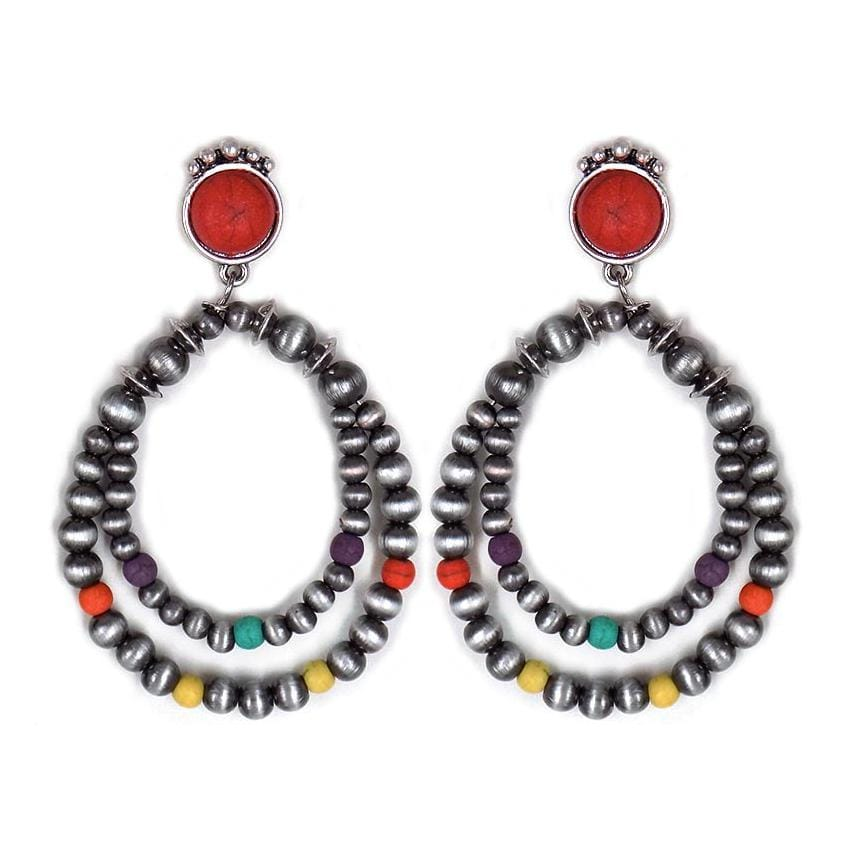 Accessorize In Style Fashion Earrings Fashion Navajo Pearl with Multi Color Bead Earrings