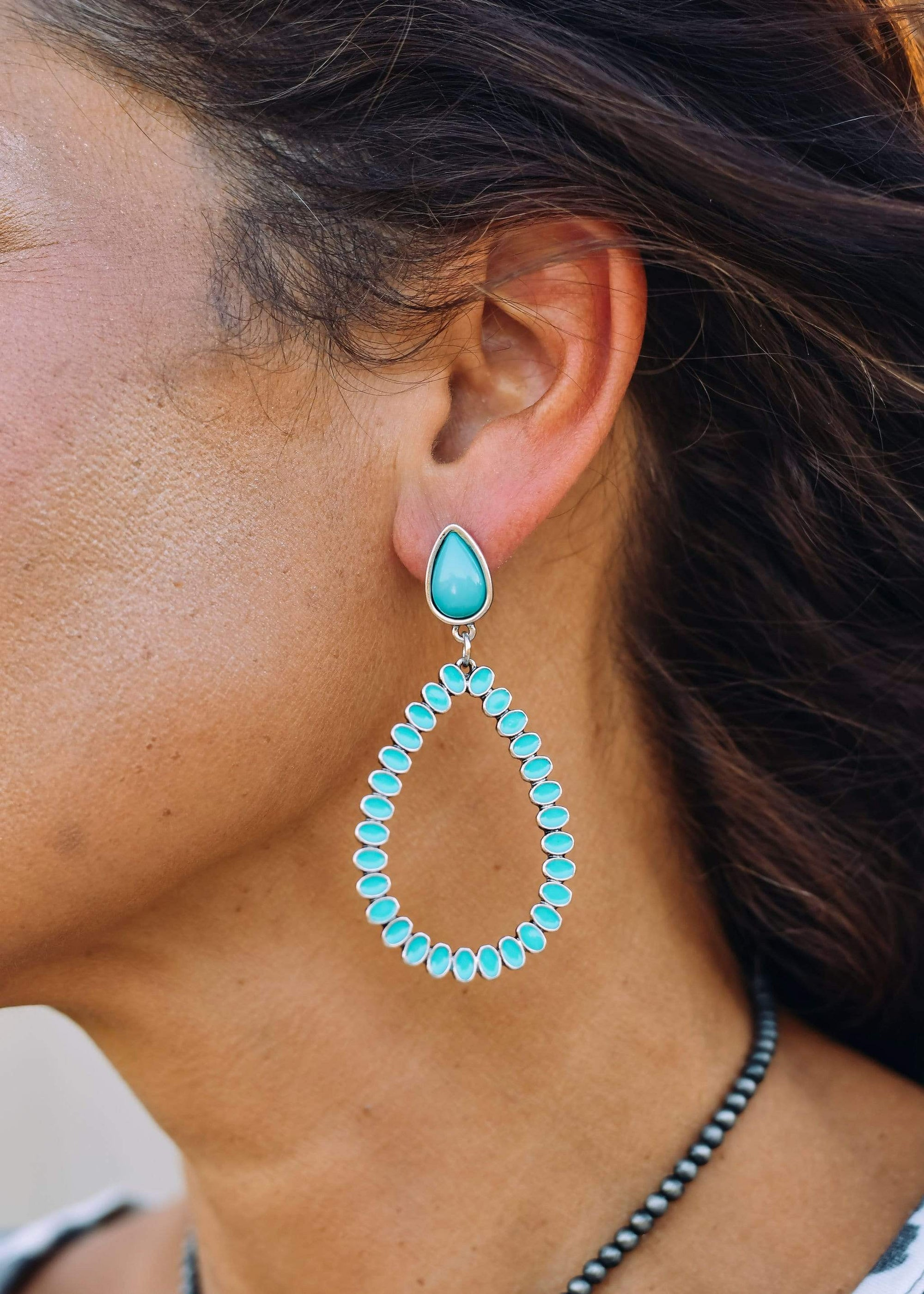 Accessorize In Style Fashion Earrings Fashion Post Teardrop Earrings - Turquoise