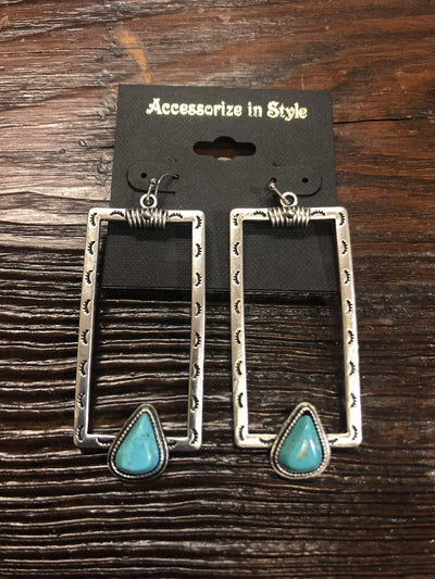 Accessorize In Style Fashion Earrings Fashion Silver Rectangle with Turquoise Earrings
