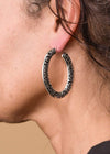 Accessorize In Style Fashion Earrings Fashion Silver Stamped Hoop Earrings