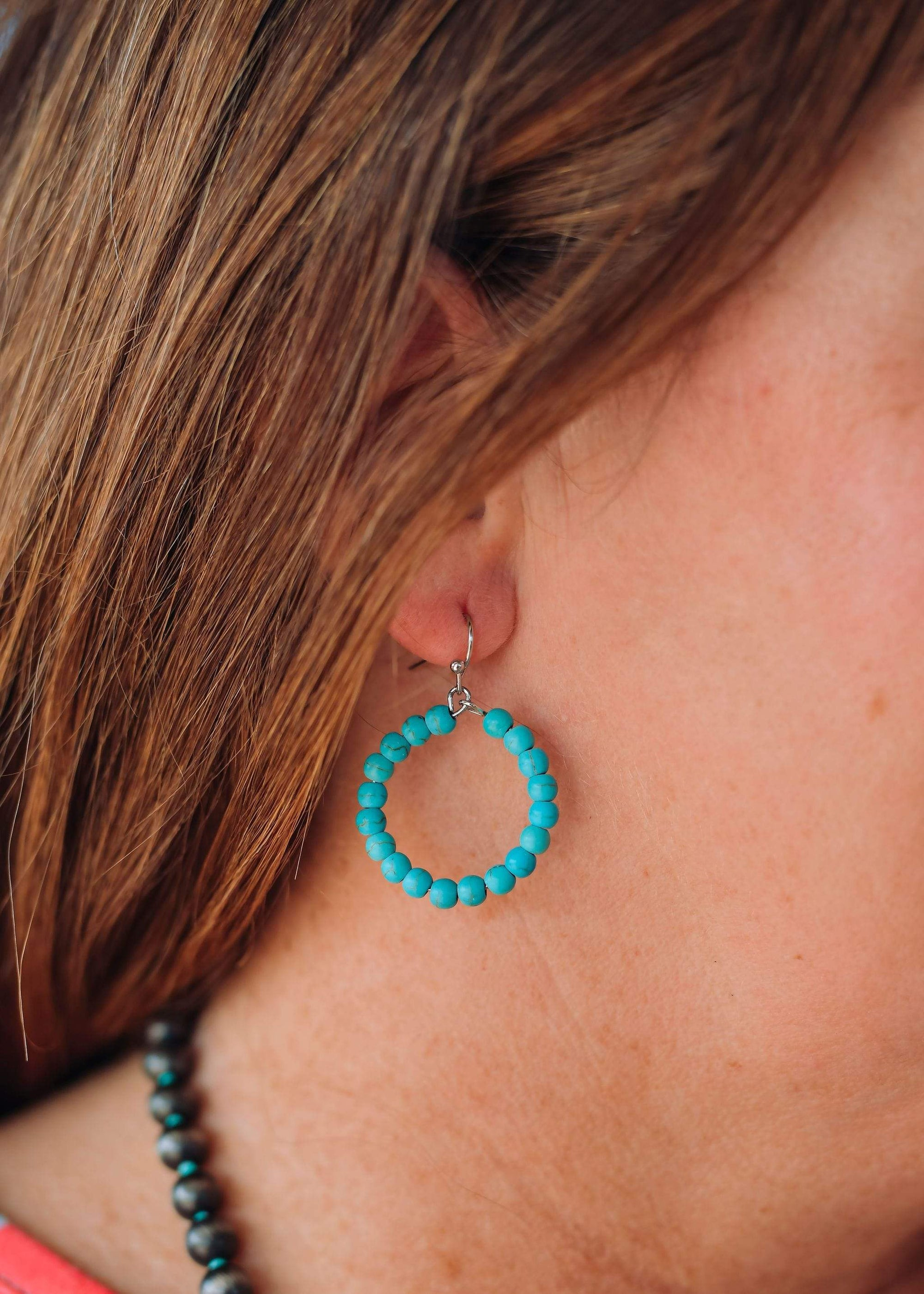 Accessorize In Style Fashion Earrings Fashion Turquoise Bead Small Hoops