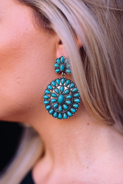 Accessorize In Style Fashion Earrings Fashion Turquoise Cluster Earrings - Large