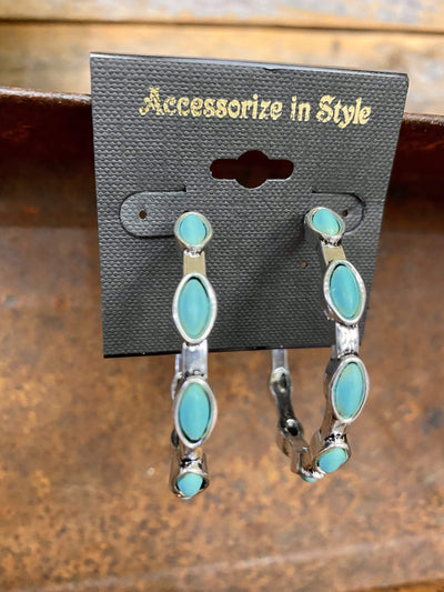 Accessorize In Style Fashion Earrings Fashion Turquoise Hoops - Diamond Shaped