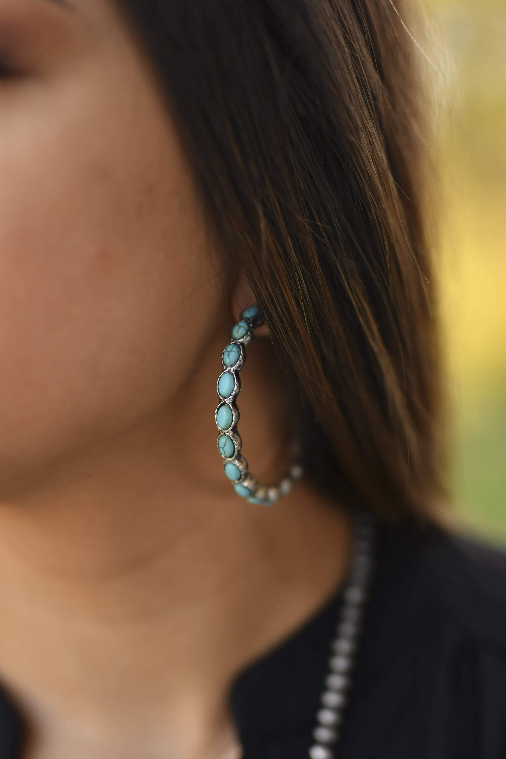 Accessorize In Style Fashion Earrings Fashion Turquoise Hoops - Oval