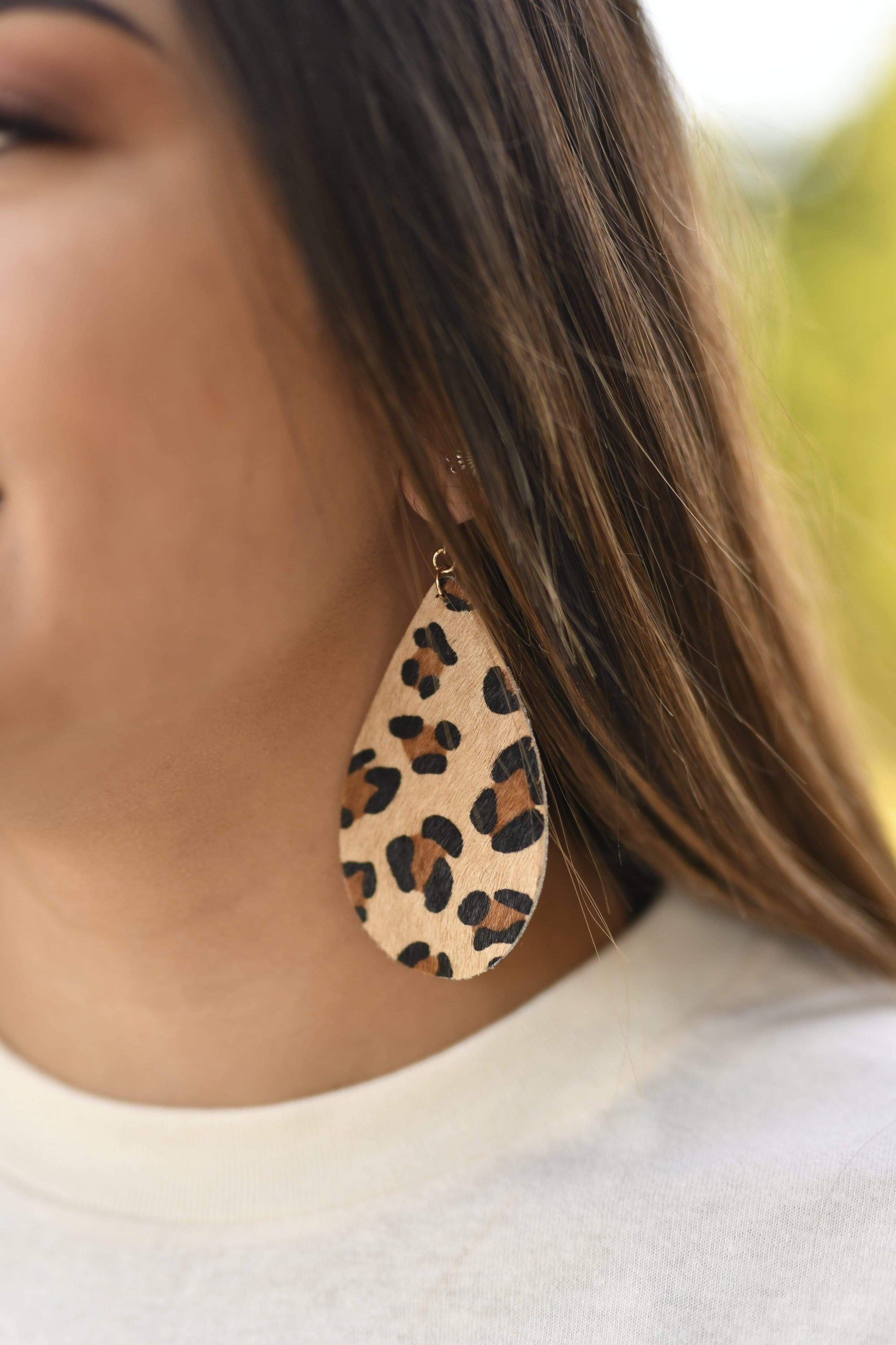 Accessorize In Style Fashion Earrings Leopard Hair on Hide Teardrop Earrings