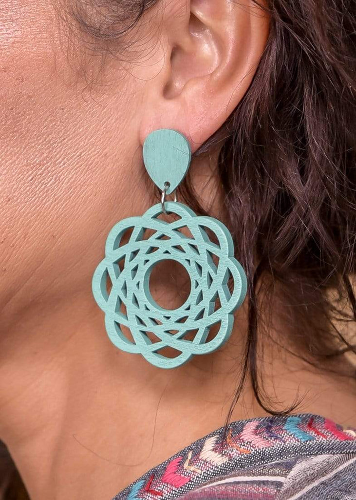Accessorize In Style Fashion Earrings Lightweight Wooden Spiralgraph Post Earrings - Turquoise