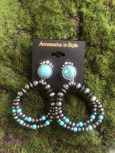 Accessorize In Style Fashion Earrings Navajo Pearl Fashion Earrings with Turquoise Beads
