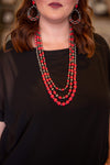 Accessorize In Style Fashion Necklaces 3 Strand Waterfall Necklace - Red