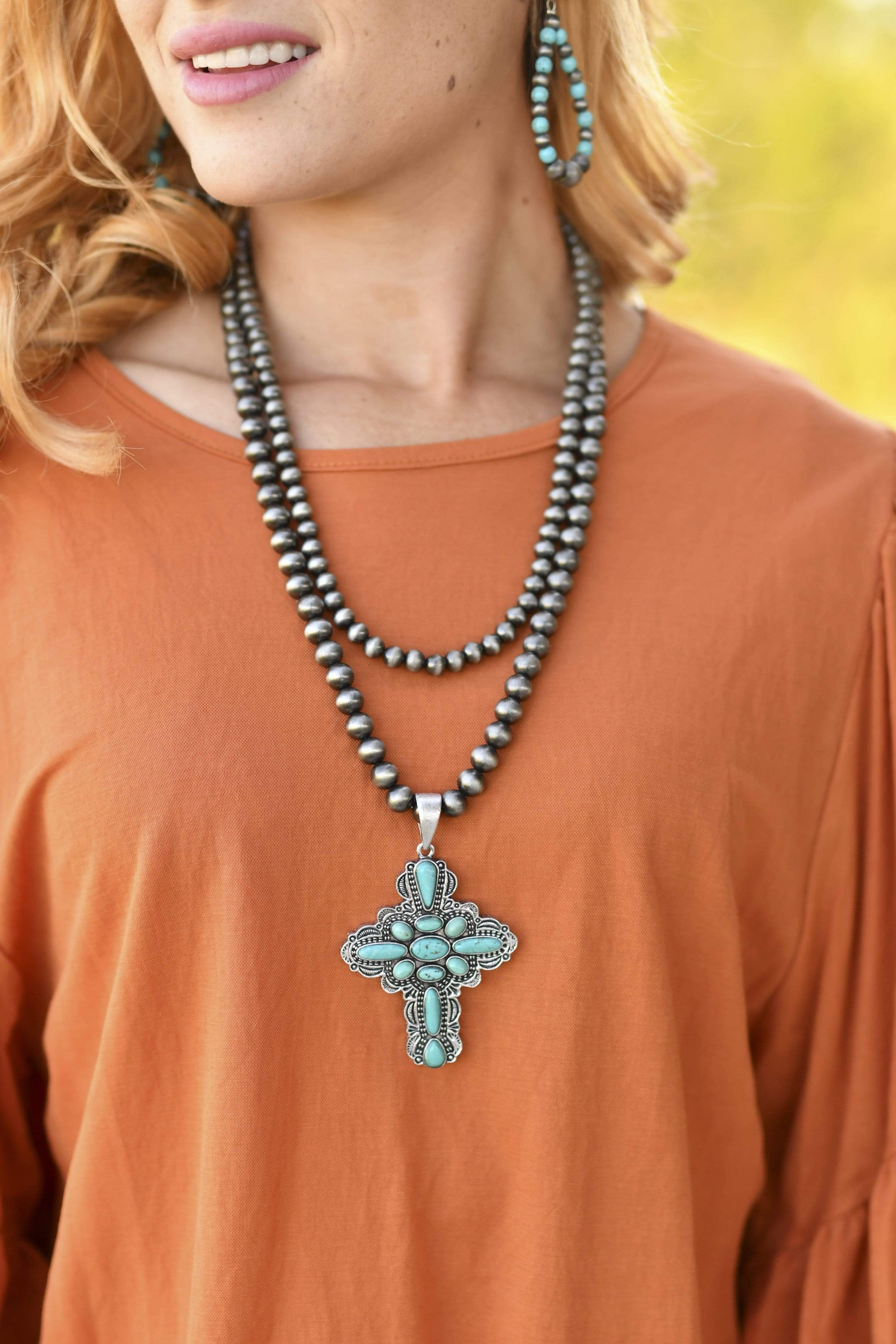 Accessorize In Style Fashion Necklaces Copy of Fashion 2 Strand Turquoise Cross Necklace