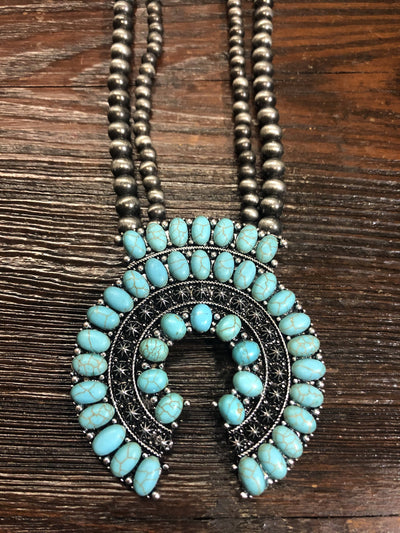 Accessorize In Style Fashion Necklaces Fashion 2 Strand Navajo Pearls with Large Naja - Silver / Turquoise