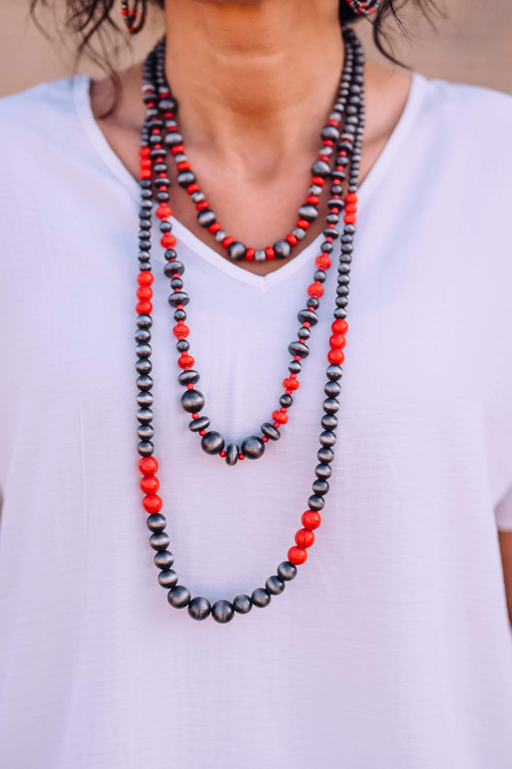 Accessorize In Style Fashion Necklaces Fashion 3 Strand Graduated Navajo Pearls - Red