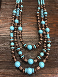 Accessorize In Style Fashion Necklaces Fashion 3 Strand Mixed Bead Necklace - Copper/Turquoise