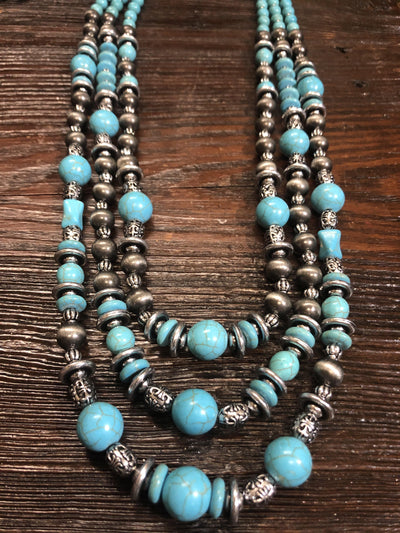 Accessorize In Style Fashion Necklaces Fashion 3 Strand Mixed Bead Necklace - Silver/Turquoise