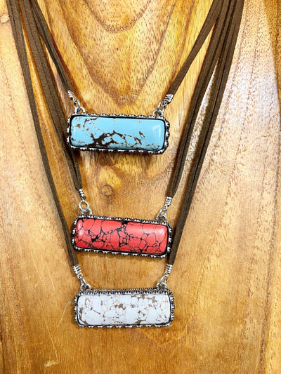 Accessorize In Style Fashion Necklaces Fashion Bar Necklace On Leather - Turquoise