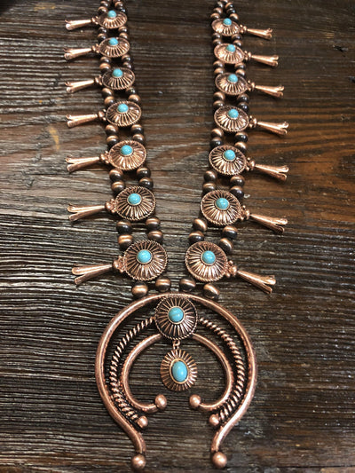 Accessorize In Style Fashion Necklaces Fashion Medallion Squash Blossom Necklace - Copper/Turquoise