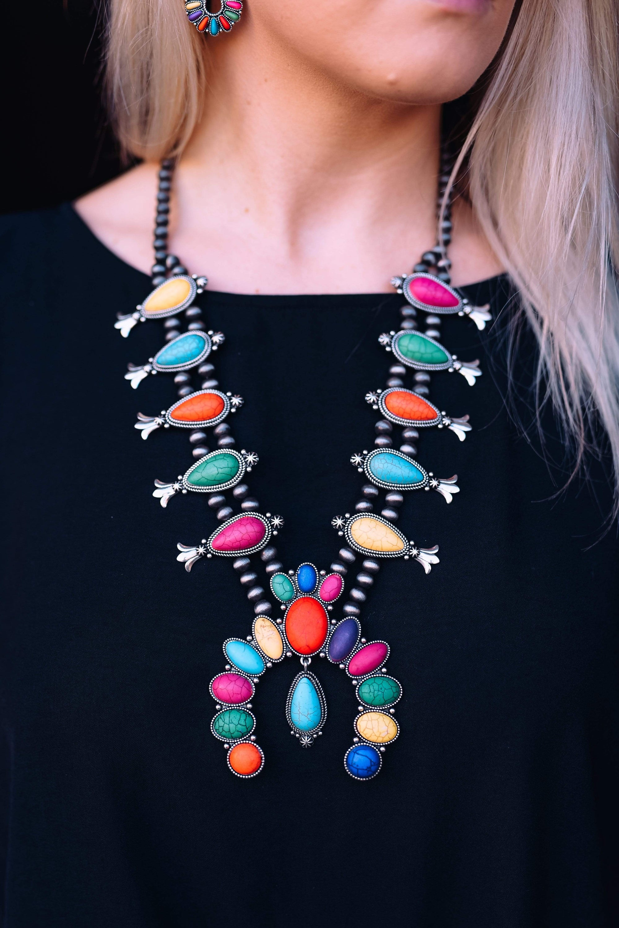 Accessorize In Style Fashion Necklaces Fashion Multi Colored Squash Blossom with Turquoise Drop