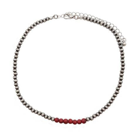 Fashion navajo pearl choker with red beads