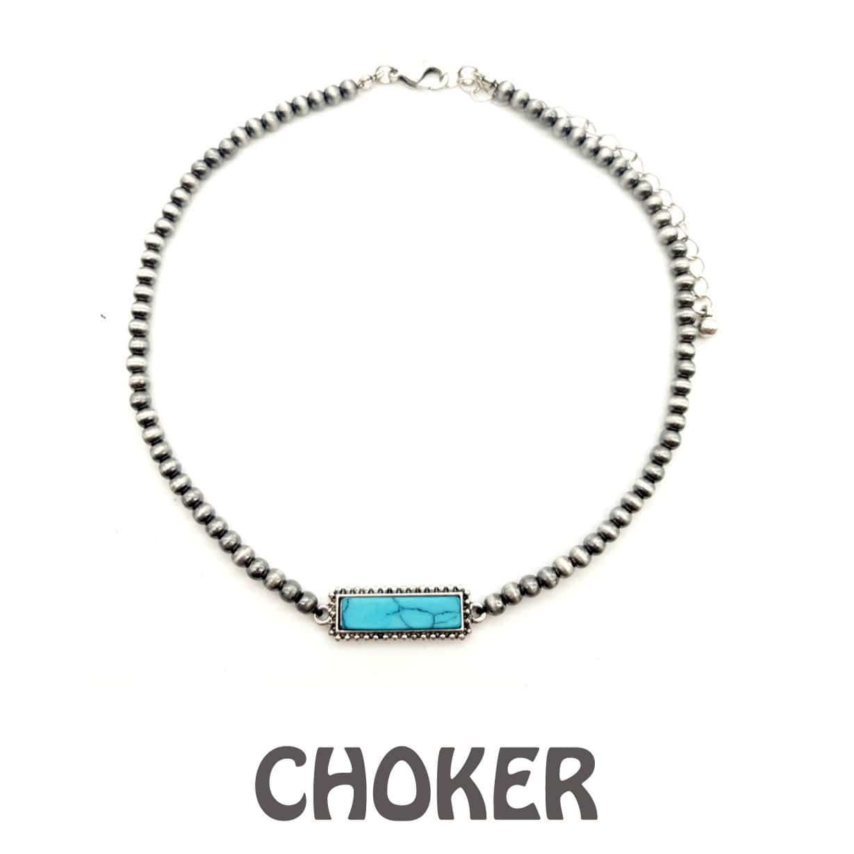Accessorize In Style Fashion Necklaces Fashion Navajo Pearl Turquoise Stone Choker