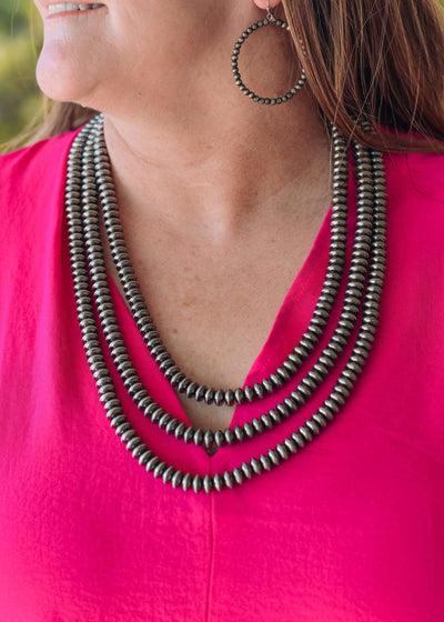 Accessorize In Style Fashion Necklaces Fashion Navajo Saucer Pearls Necklace - 3 Strand