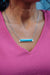 Fashion Silver Bar Necklace - Turquoise