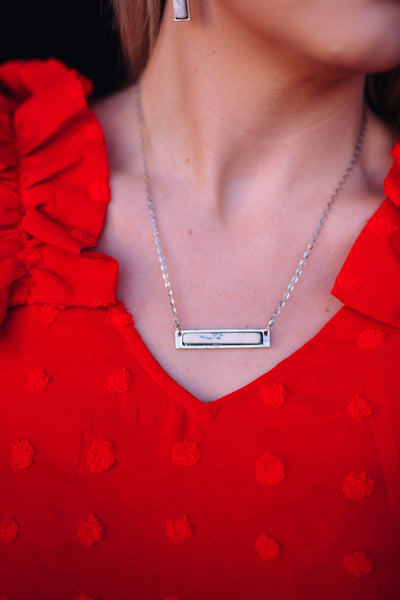 Accessorize In Style Fashion Necklaces Fashion Silver Bar Necklace - White
