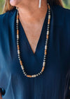 Accessorize In Style Fashion Necklaces Fashion Silver, Wood, Turquoise Necklace - 34""
