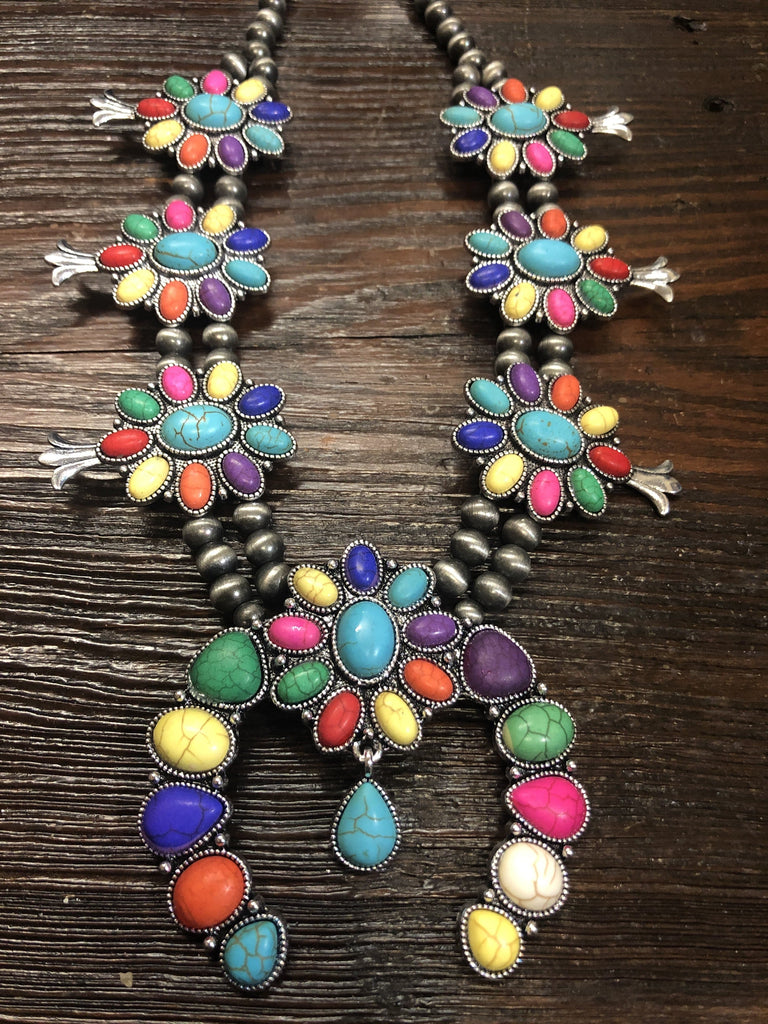 Accessorize In Style Fashion Necklaces Fashion Squash Blossom with Blossom Naja - Multi Colored