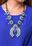 Accessorize In Style Fashion Necklaces Fashion Squash Blossom with Drop Stone - Turquoise / Lapis