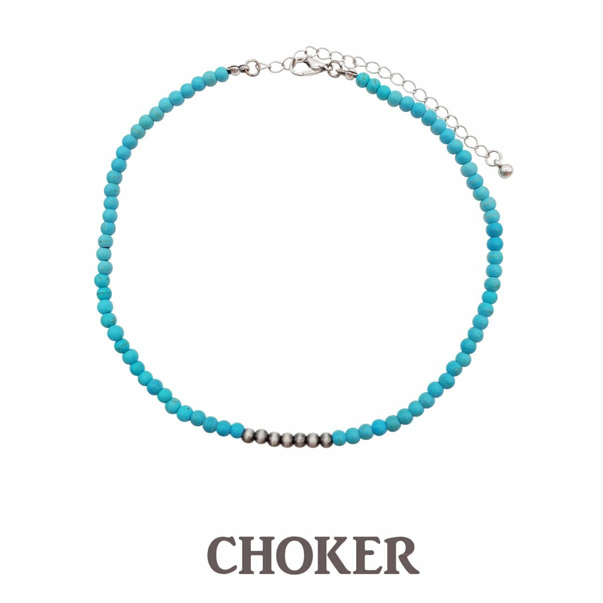 Accessorize In Style Fashion Necklaces Fashion Tiny Turquoise Stone Choker with Navajo Pearl