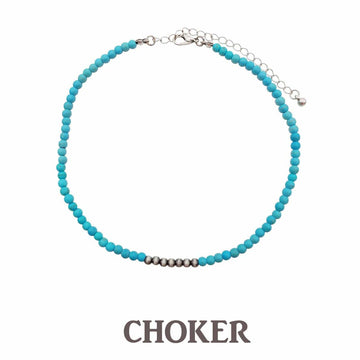 Fashion Tiny Turquoise Stone Choker with Navajo Pearl