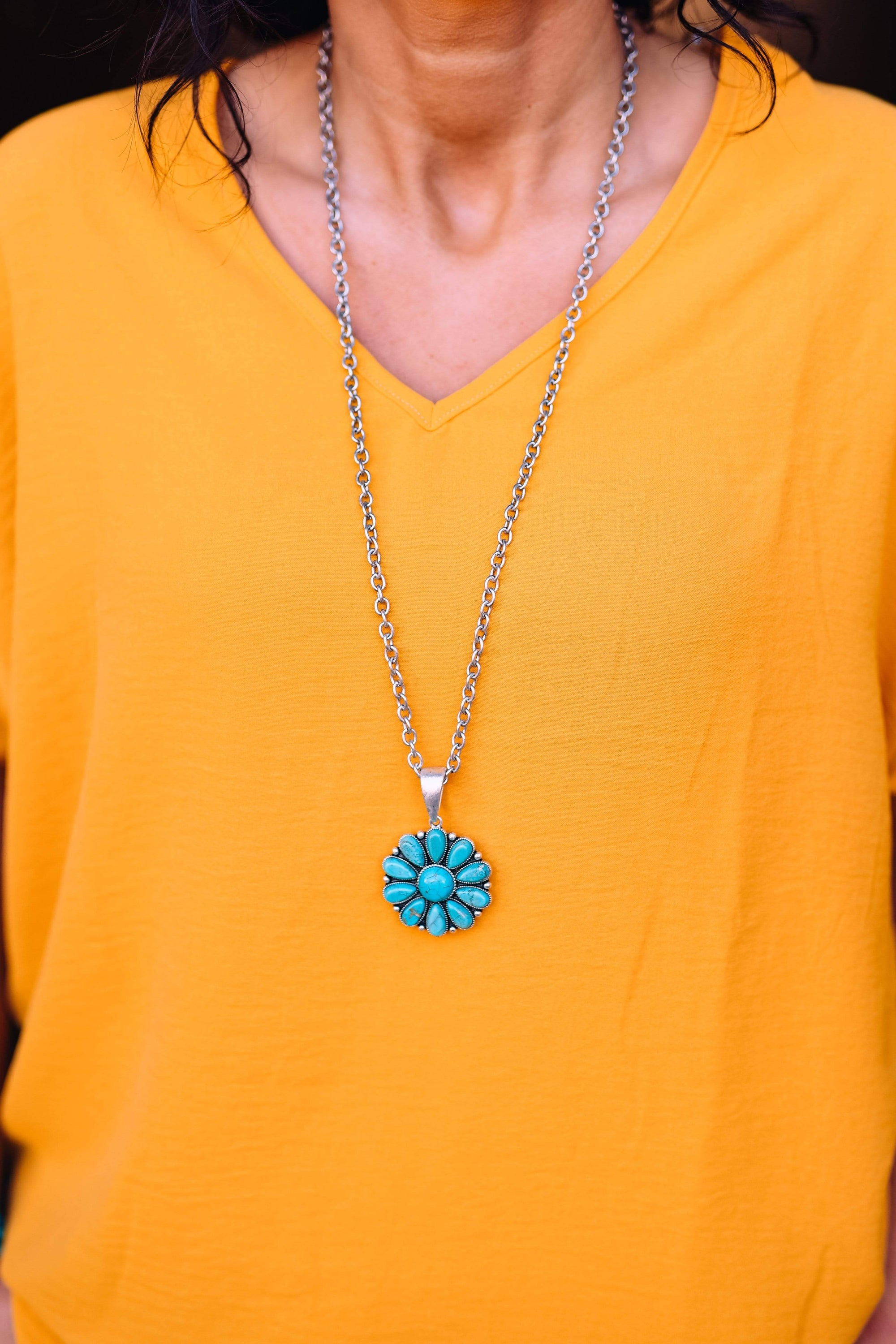Accessorize In Style Fashion Necklaces Fashion Turquoise Blossom Pendant on a Chain