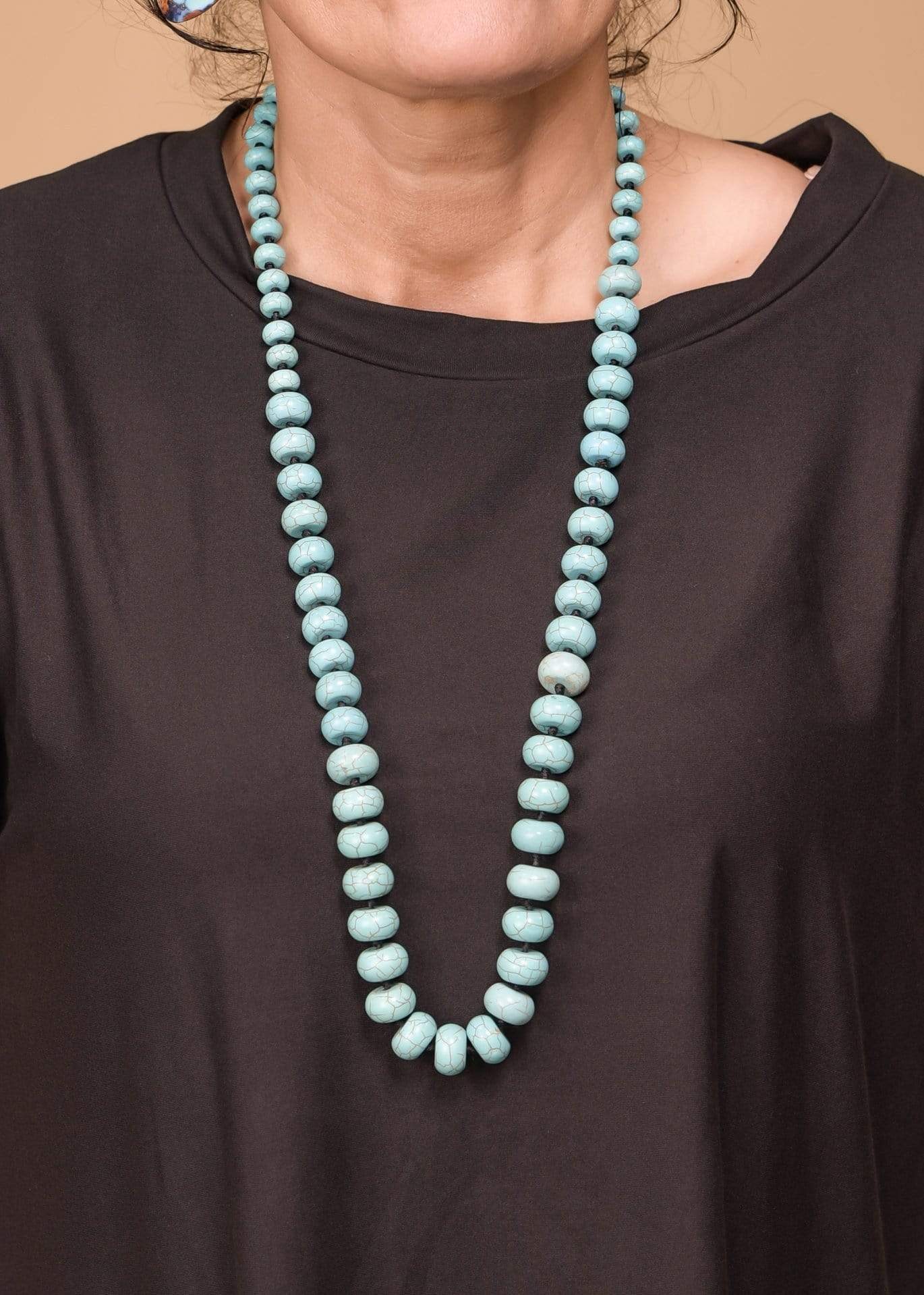 Accessorize In Style Fashion Necklaces Fashion Turquoise Disc Bead Single Strand Necklace