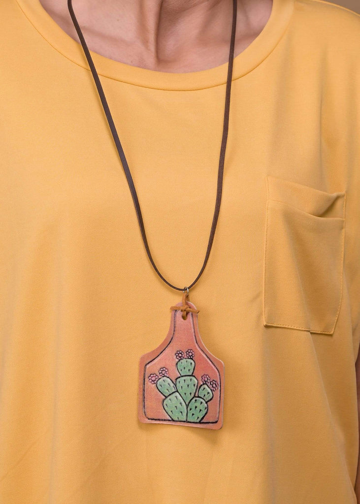Accessorize In Style Fashion Necklaces Leather Cow Ear Tag Necklace - Cactus